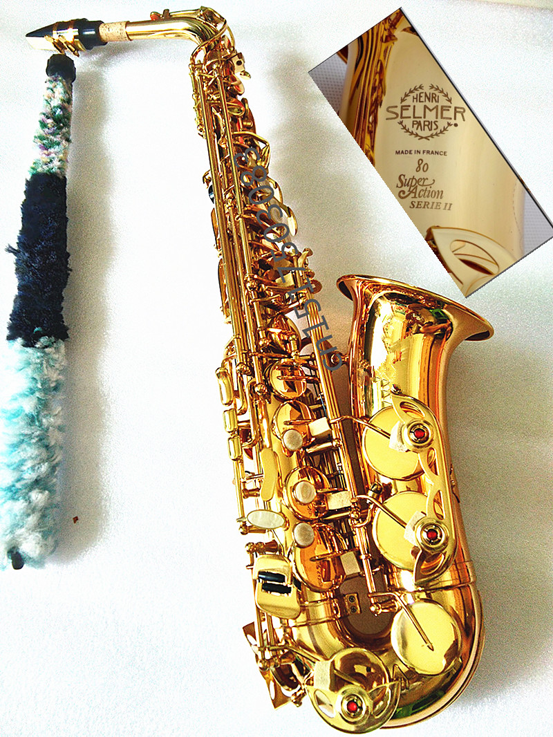 Alto Saxophone 802 Eb Alto Sax Lacquered Gold E Flat Sax with Cleaning Brush Cloth Gloves Cork Grease Strap Case