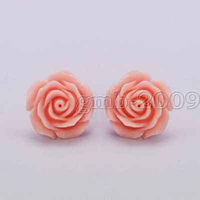 New Pretty 12mm Coral Pink Rose Flower 925 Silver Stud Earrings
