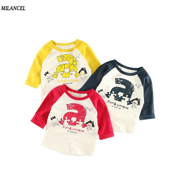 9f394f124065 MILANCEL 2018 Boys Blouse Casual Girls Shirts Letter Print Kids Boys ...