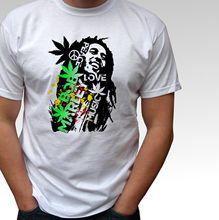 93a2e34f Bob Marley Peace Love Music white t shirt rasta reggae top - mens and kids  sizes