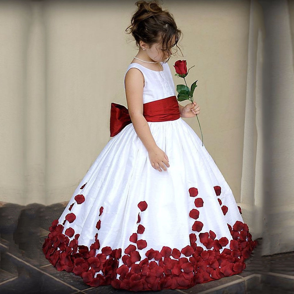 Cute Flower Girl Dress Girls Lace Chiffon Sequined Sleeveless Elegant Pageant For Wedding Party Dresses With Sash SZ 2-14