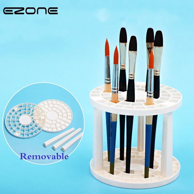 EZONE Paint Brush Pen Holder 49 Holes Pen Rack Display Stand Support Holder Painting Brush Pen Holder For Drawing Art Supplies