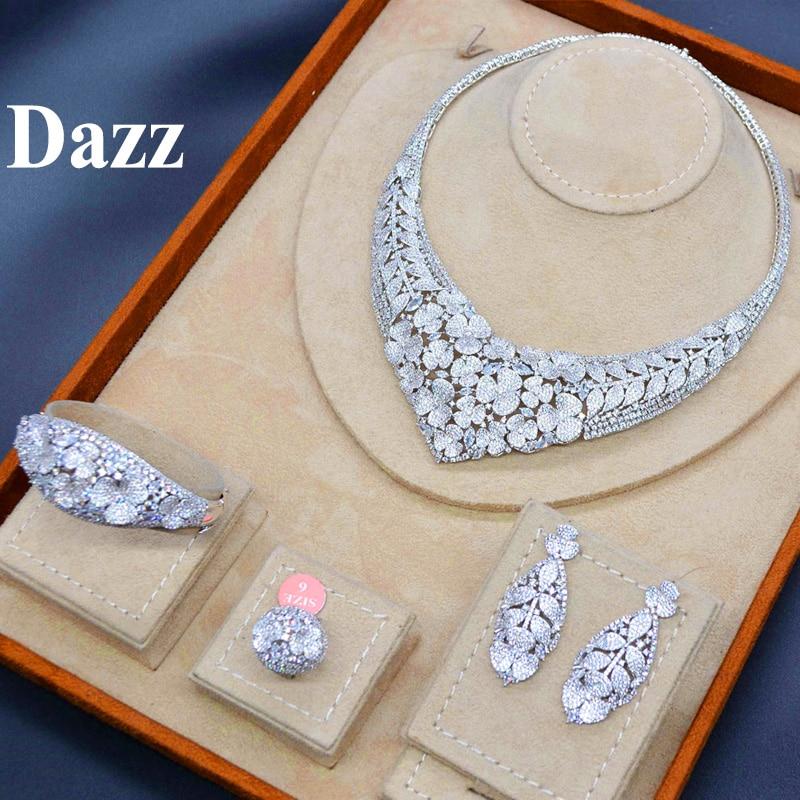 HTB175XGUMHqK1RjSZJnq6zNLpXa0 Dazz Gold Color Nigeria Jewelry Set luxury Necklace Earrings Bangle Ring CZ Zircon Bride Women Wedding Engagement Best Gift 2019