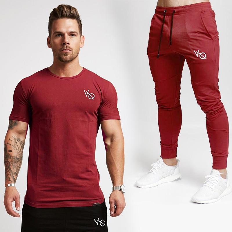 Men's Clothing T-shirts 2019 Brand Spring Summer Men T-shirt Fashion Sportswear Vq T Shirt joggers Sets Clothes Track Tracksuits Male Plus Size Men Set