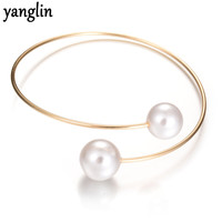 2017 Korean Women Jewelry Costume Accessories Simulated Pearl Bangle Christmas Valentine's Day Gifts For Women Adjustable Bangle