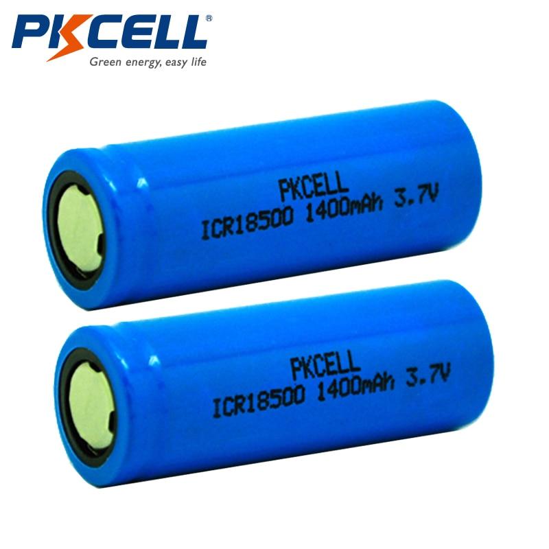 2Pcs/lot PKCELL ICR 18500 Battery 3.7V 1400mAh Rechargeable Battery 18500 Bateria Recarregavel Lithium li-ion Batteies Baterias soshine rechargeable 3 7v 1400mah 18500 li ion battery black 2 pcs