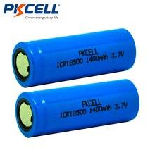 2Pcs lot PKCELL ICR 18500 Battery 3 7V 1400mAh Rechargeable Battery 18500 Bateria Recarregavel Lithium li