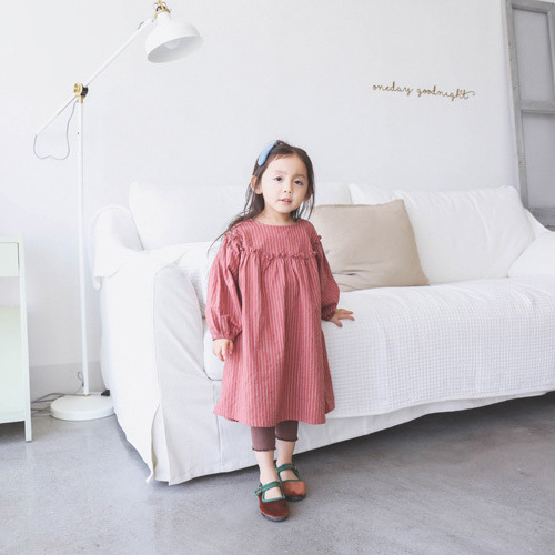 0d7abc1fb56e Girls striped cotton linen dresses kids pink coffee casual dress baby  casual loose o-neck long sleeve clothes children 1-7 years
