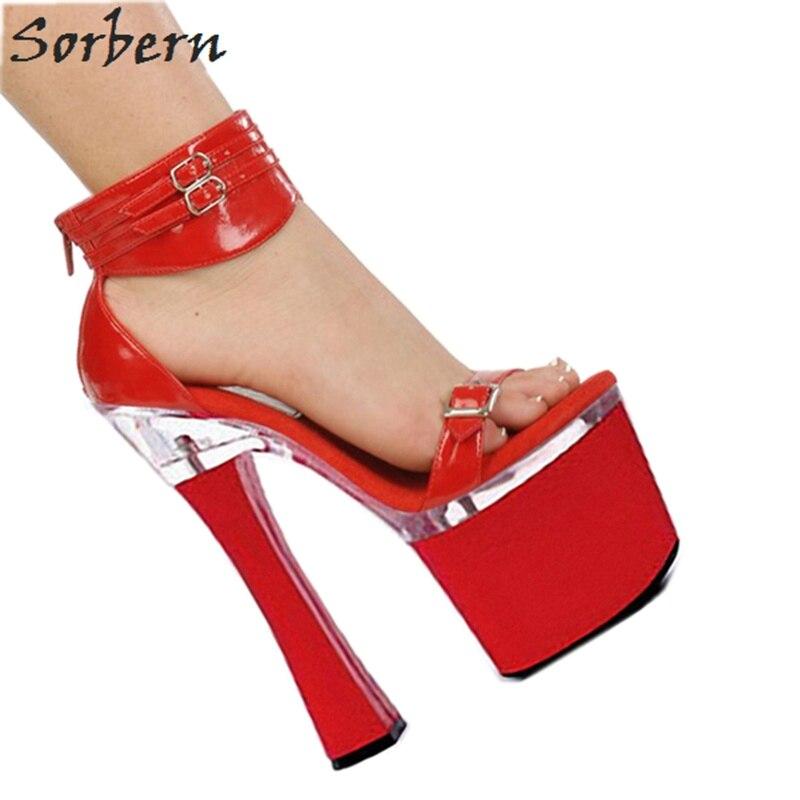 Schuhe Sommer chelriemen WeiFarben RotSilber 18 Damen Sandale Plattform High Offene spitze CM Heels Rot Frauen Dicke Heel Block Schwarz Kn 4Aq35jcRLS