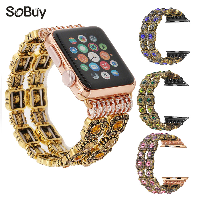 So buy for apple watch series 1/ 2/3 metal band Female jewelry bracelet woman iwatch vintage gem wrist strap Ms 38mm/42mm bands so buy wrist bracelet 316l stainless steel bands for apple watch 42mm 38mm iwatch strap series 1 2 3 sport milan nice metal band