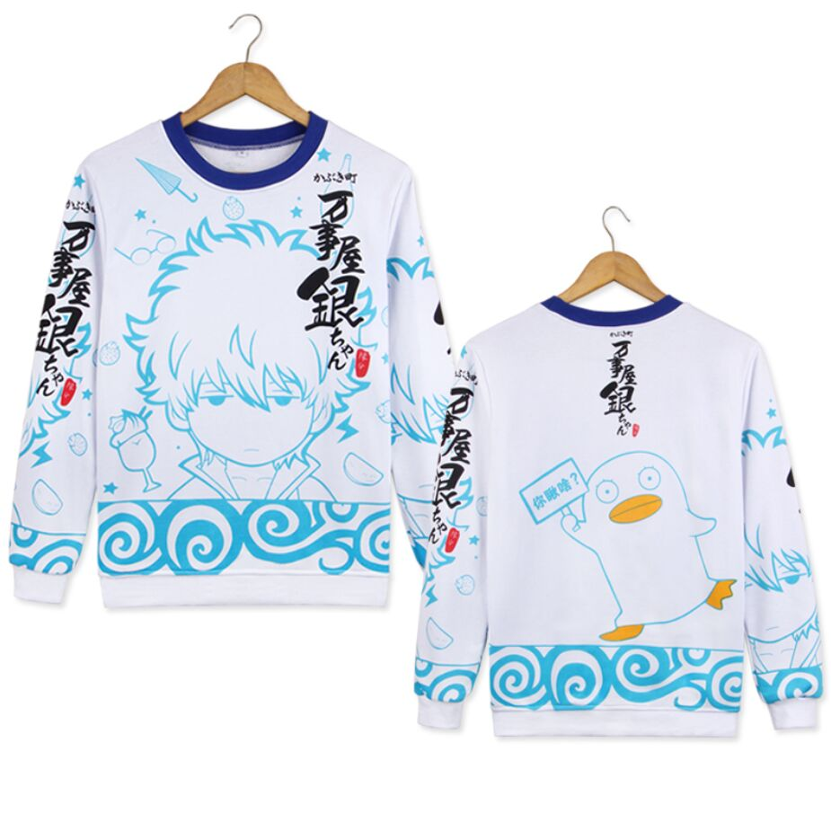 2018 fashion Gintama Hoodies O-neck sweaters and pullovers long sleeve sweatshirt men casual Blouse Shirts unisex hoodie