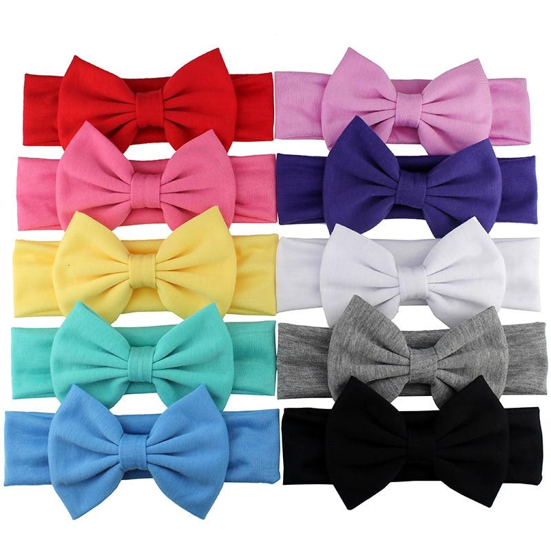 2019 New Cotton Elastic Newborn Baby Girls Solid Color Headband Bowknot Hair Band Children Infant Headband Bandeau Bebe