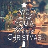 My Z Tobą Merry Christmas Tree Decoration Naklejka Ścienna Dla Sklepu Pokój dzienny Szkło Okienne Naklejki Ścienne Sztuki Plakat Home Decor