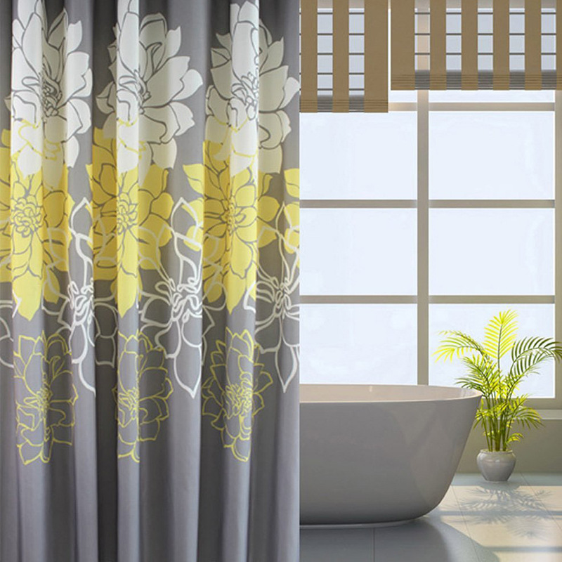 Polyester 180x180cm Bathroom Curtain Purple Floral Printed Mildew Proof Waterproof Home Hotel Shower with Hooks