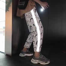 Reflective Cartoon Print Harem Pants Women Hip Hop Casual Hi