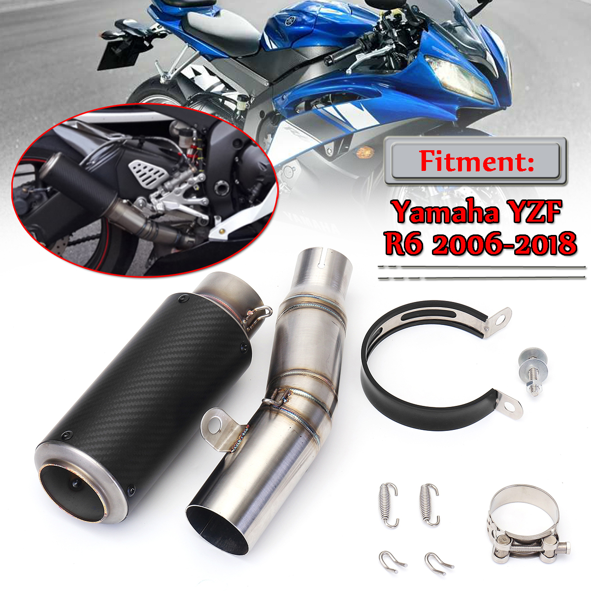 Motorcycle Full Set Exhaust Muffler & Middle Mid Pipe Connect Tail Link Pipe Exhaust System For Yamaha YZF R6 2006 2018 2 Type|Exhaust & Exhaust Systems| |  - title=