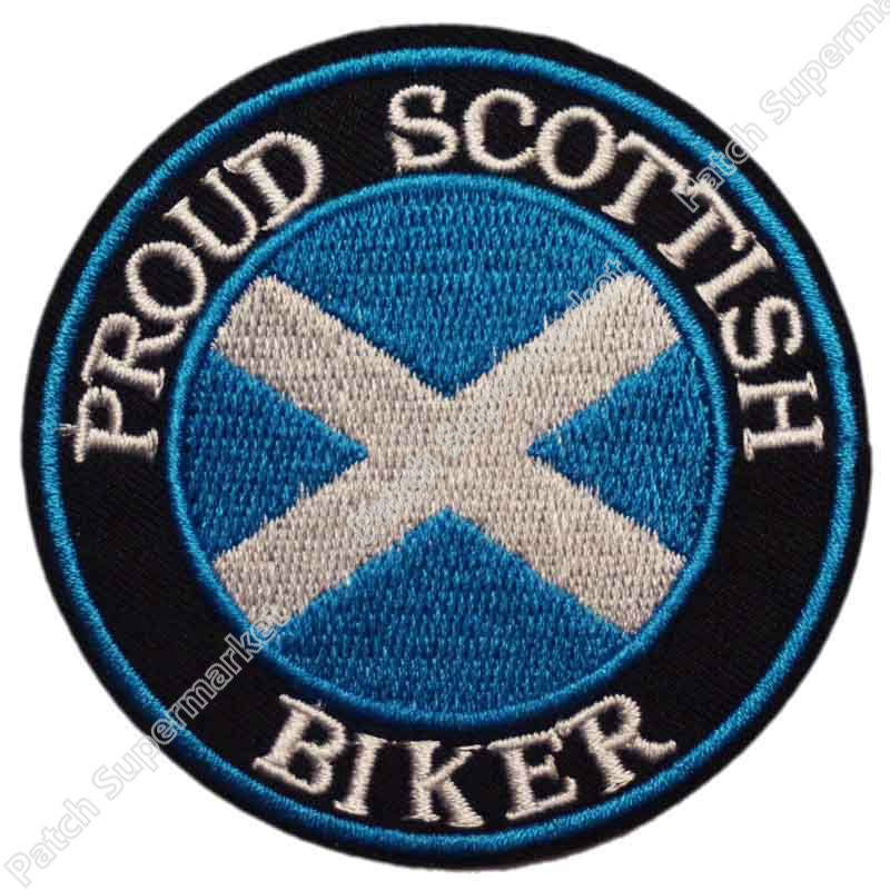 """SCOTLAND FLAG IRON ON PATCH 3/"""" Embroidered Applique Scottish St Andrews Cross"""