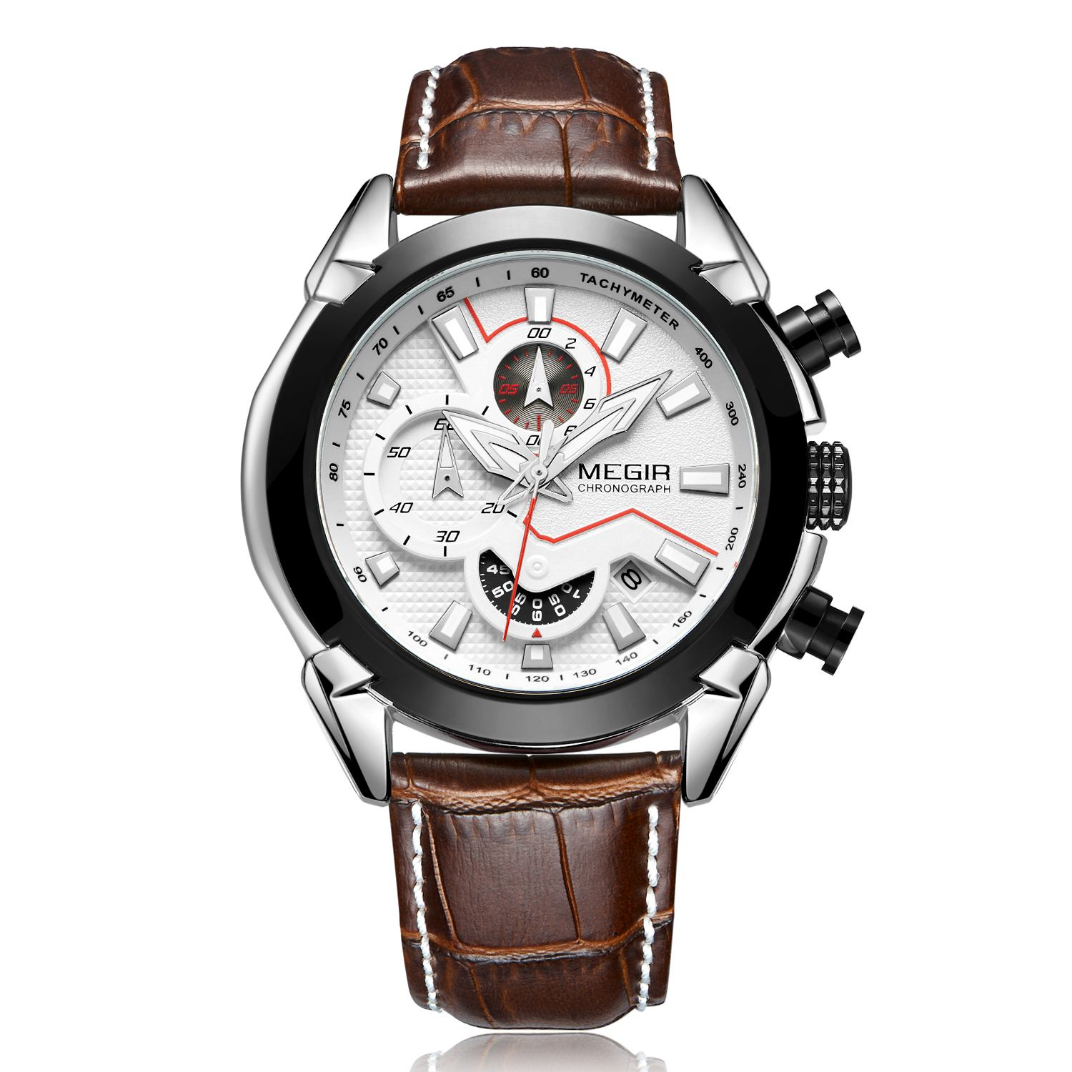 <font><b>MEGIR</b></font> Top Brand Military Sport Watch Men Luxury Leather Army Quartz Watches Clock Men Creative Chronograph Relogio Masculino image