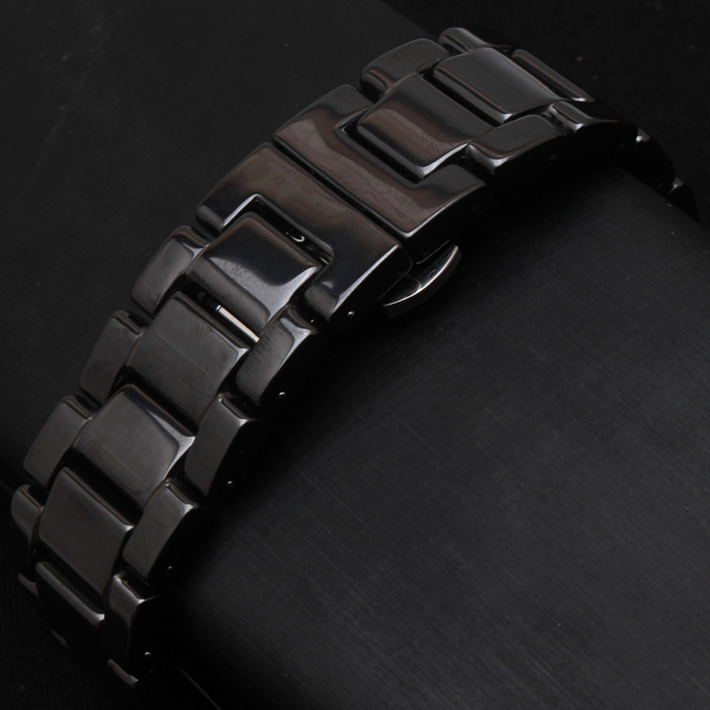 Ceramic Watchband black Watch band 14MM 16MM 18MM 20MM 22mm watch straps Butterfly Buckle wristband bracelet for Gear S3 Classic
