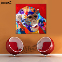 Monkey Oil Painting Modern 100 Hand Paint Animal Square Wall Art Acrylic Oil Canvas Home Decoration