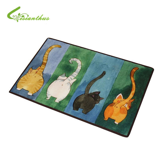 New Sale Welcome Floor Mats Animal Cute Four Cats Printed Bathroom Kitchen Carpet House Doormats for Living Room Anti-Slip Rug