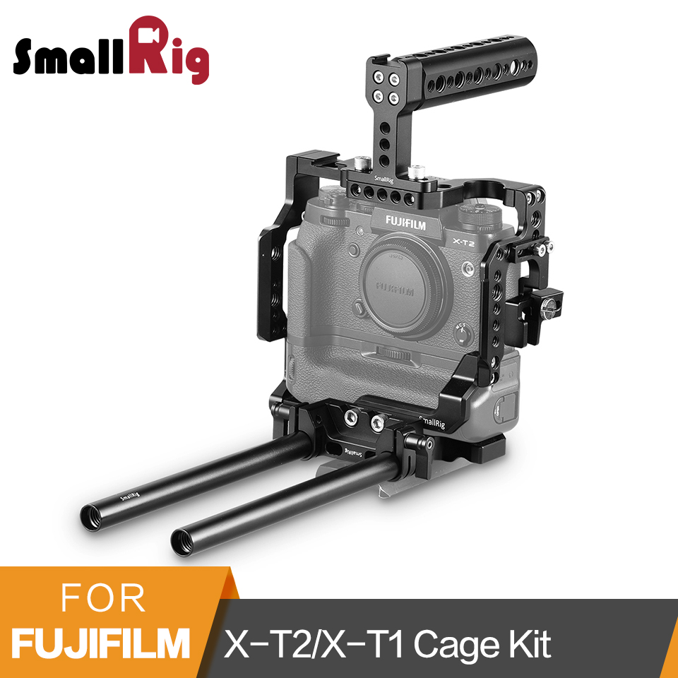 SmallRig X T2/X T1 Camera Cage Kit for Fujifilm X T2/X T1 Cage with Battery Grip+Top Handle+HDMI Cable Clamp+15mm Rod Clamp 2193
