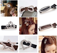 Women Girl Korean Bowknot Crown Heart Star Flower Hair Clip Snap Barrette Comb Stick Claw Crab Clamp Hairpin Black Brown Blonde(China)