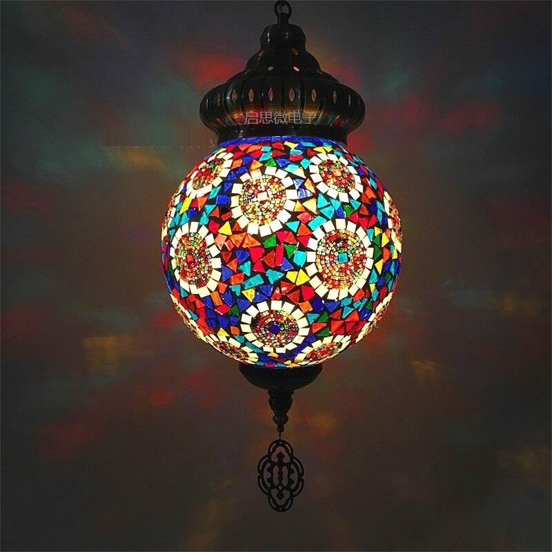 Us 110 95 31 Off 25cm Ball New Style Turkey Ethnic Customs Handmade Lamp Cafe Restaurant Bar Tree Pendant Light Mosaic In