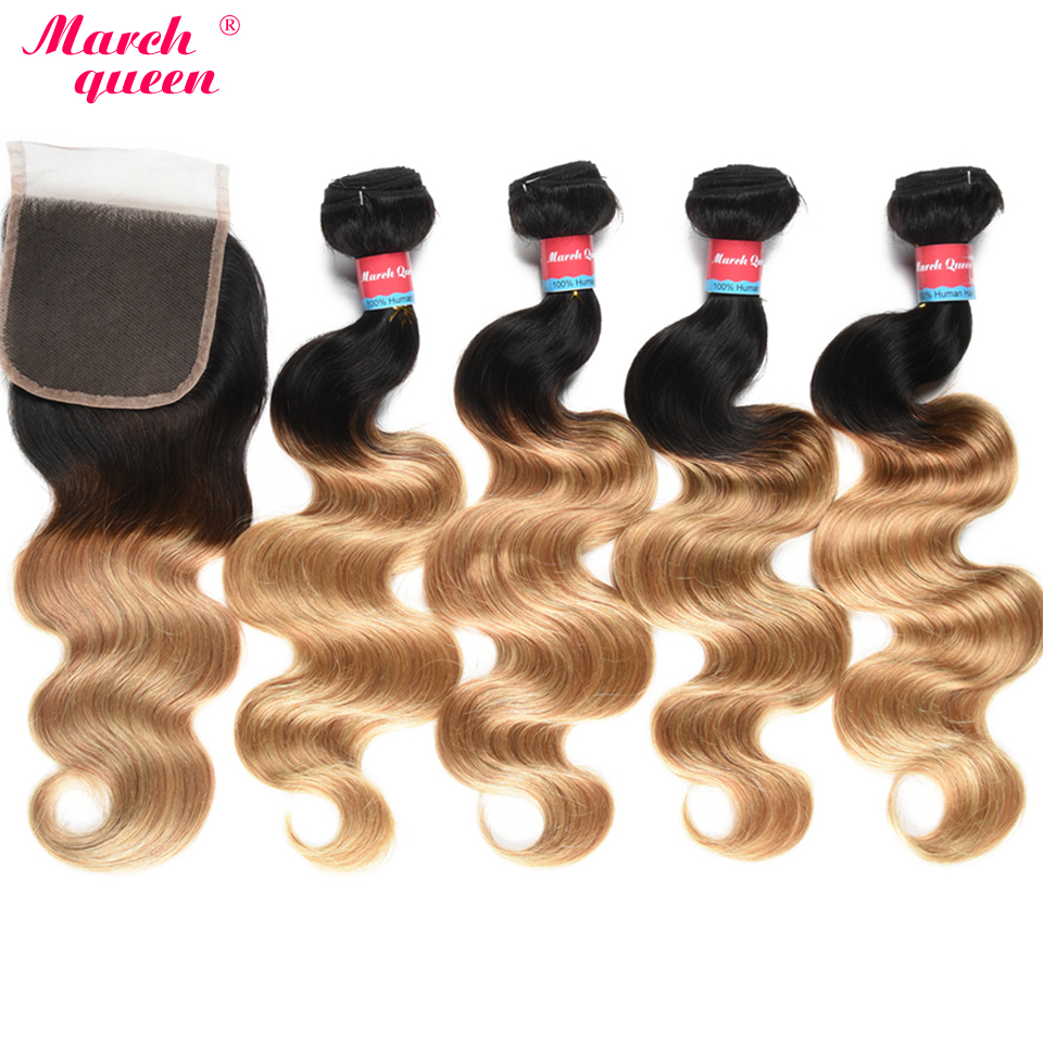 March Queen 4 Bundles Ombre Indian Body Wave Human Hair Weave Bundles With Closure T1B/27 Black To Blonde 4x4 Inch Lace Closure