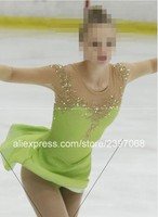 Girls Figure Skating Clothes Green Kids Figure Skating Dress Girls Competition Figure Skating Clothes 2017 Free Shipping G50