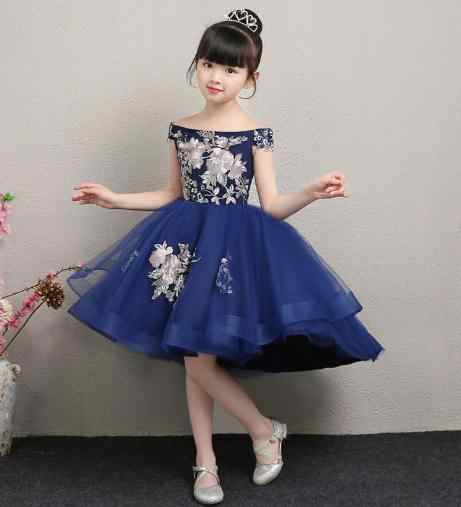 Detail Feedback Questions about Fashion brand Handmade Autumn Flower Girls  Dress For Wedding Blue Lace Girl Party evening Dress Princess ball Gown  Trumpet ... e76bc1a9793b