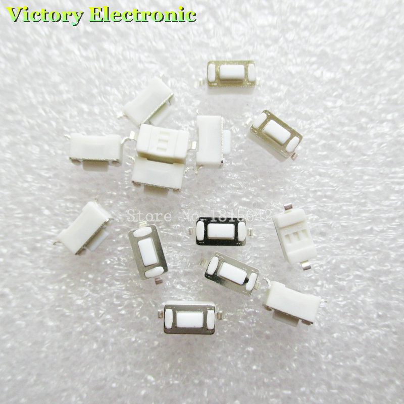 100PCS/LOT 3*6*4.3mm 2pin SMD Tact Switch Push Button Touch Micro Switch 3x6x4.3H White Button