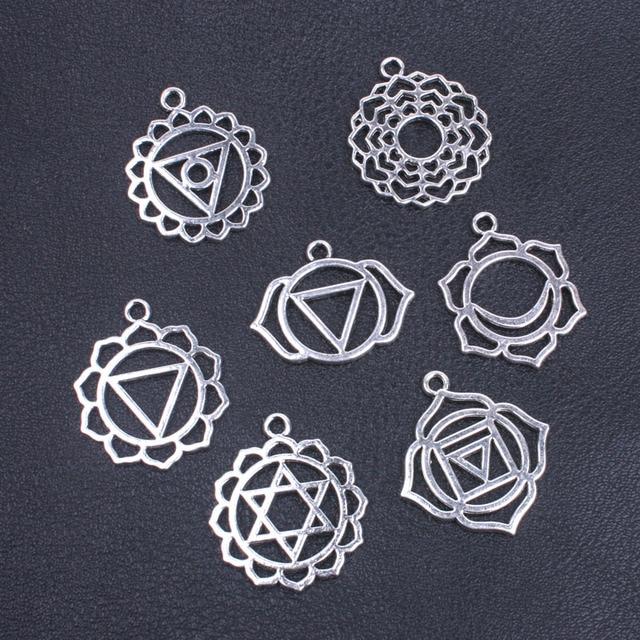 Seven chakra charm pendant yoga buddhist metal charm for jewelry seven chakra charm pendant yoga buddhist metal charm for jewelry making supplies charms set of 7 aloadofball Gallery