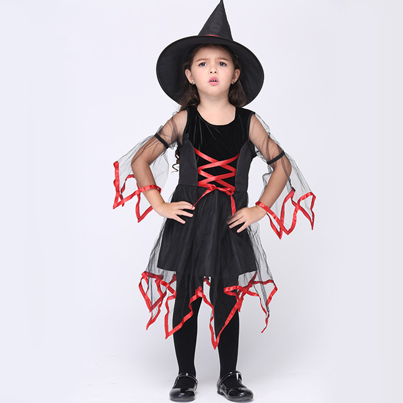 kids girls halloween costumes 95 135 cm girls halloween scary witch fancy dress with red - Scary Cat Halloween Costume