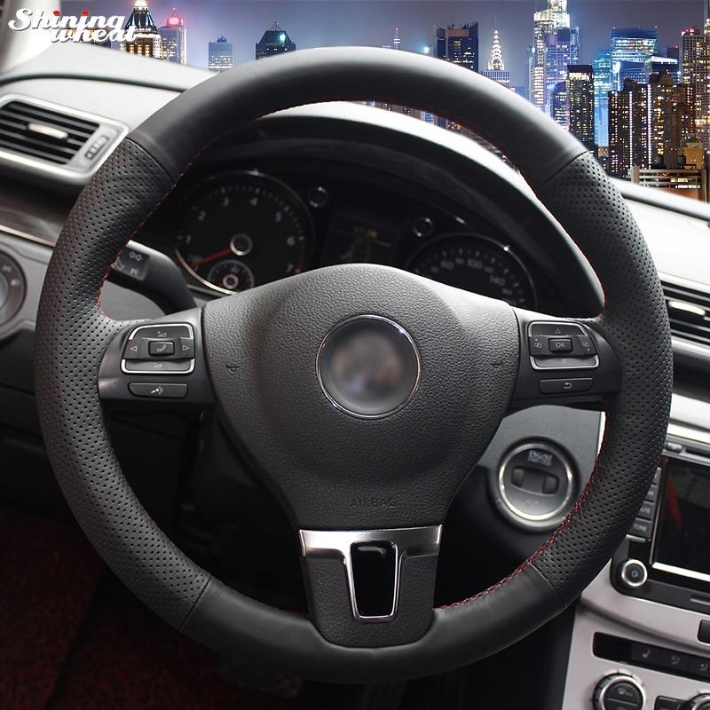 Brillant blé Noir Couverture de Volant En Cuir pour Volkswagen VW Gol Tiguan Passat B7 CC Touran Magotan Sagitar