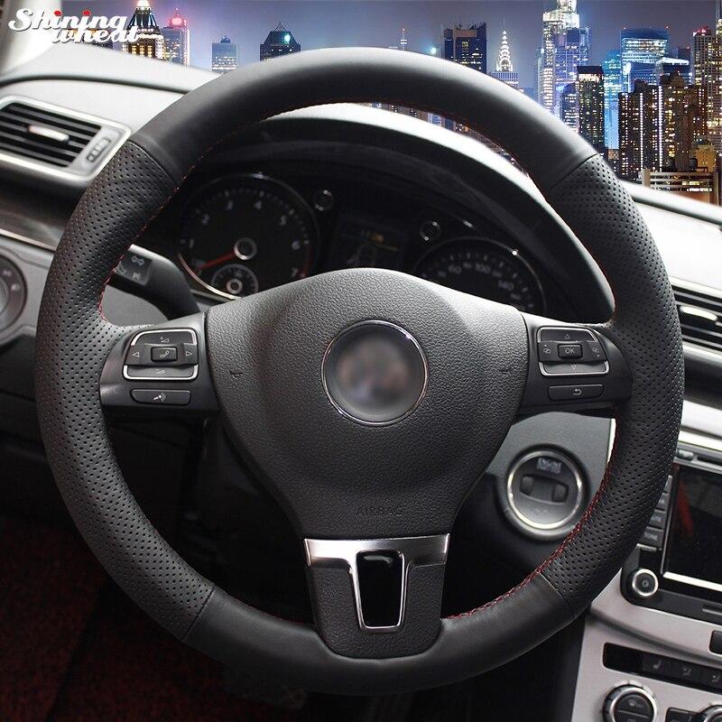 Glänzende weizen Schwarz Leder Lenkradabdeckung für Volkswagen VW Gol Tiguan Passat B7 CC Touran Magotan Sagitar