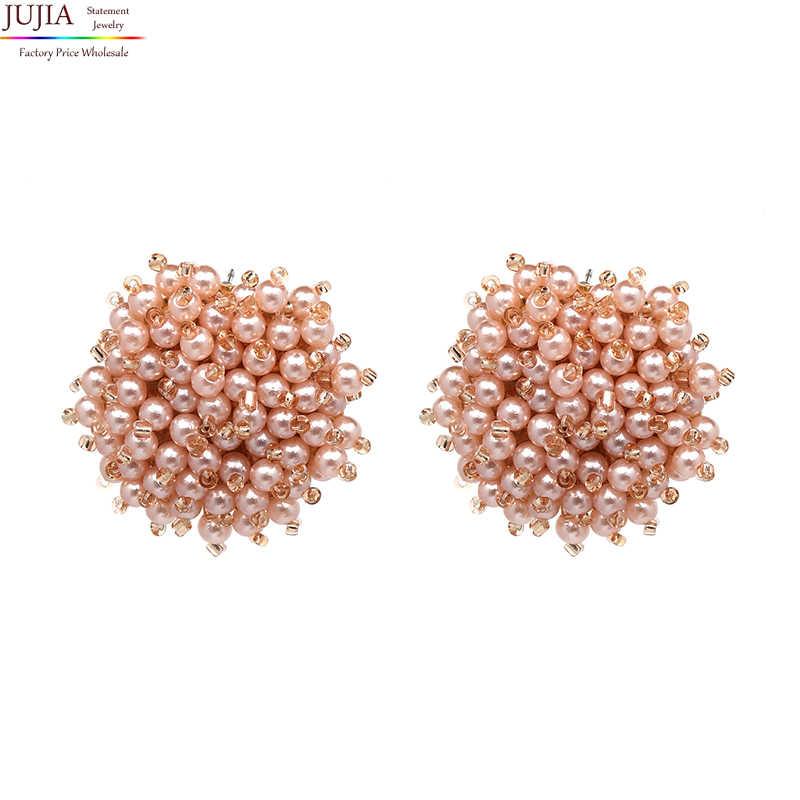 JUJIA 7 colors good quality beads earring 2019 New statement fashion stud  Earrings for women wholesale 24dc5035ccd5