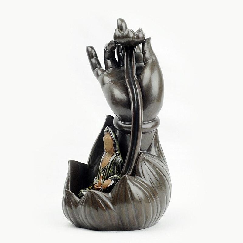 Ceramic Buddha incense burners aromatherapy furnace Lotus Guanyin creative back smoke perfumed burner censer