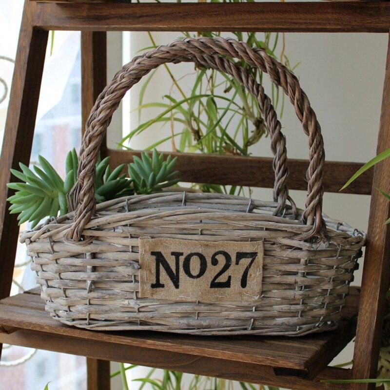 pcs garden pots u planters wicker hanging baskets vases grey color vintage basket flower pot for plants jardin