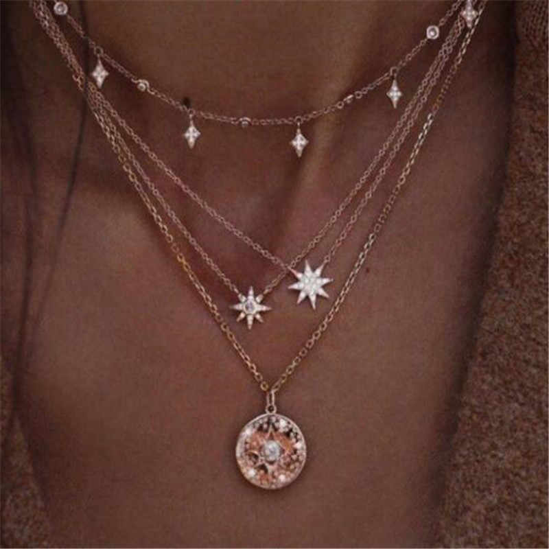 Star Crystal Heart Love Moon Cross Circle Simple Choker Necklace Statement Chain Necklaces Bijoux Female Fashion Jewelry Sale