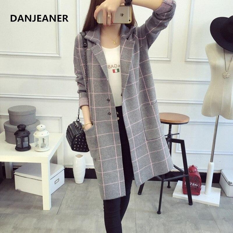 Danjeaner Autumn Winter Long Sleeve Knitted Sweaters Coats Women Long Plaid   Trench   Coats Slim Fit Cardigan Streetwear Knitwear