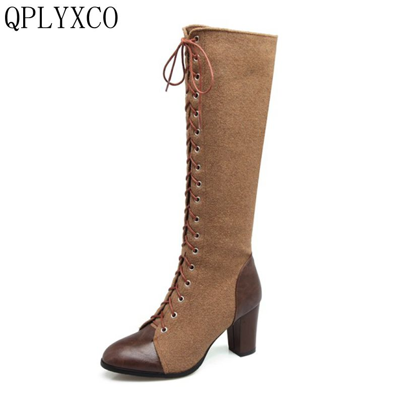 QPLYXCO 2017 Big Size 33-48 Women High Heel Over Knee Boots Fashion Winter Warm Long Boot Round Toe Quality Footwear Shoes S-18