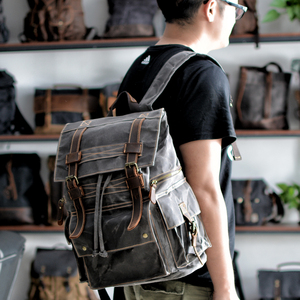 Image 2 - Retro Canvas Mens Backpack Travel Backpacks Tooling Locomotive Computer Bag Europe and The United States Large Capacity Leather