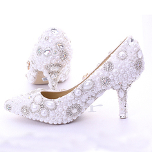New White 7cm Women Lady Cocktail Evening Bridal Accessories Rhinestone Pearl Pointed Toe Stiletto Heels Wedding Dress Shoes