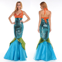 New 2017 Women Halloween Costume Mermaid Role Playing Halter Patchwork Dress Female Cosplay Costume Dress Suit