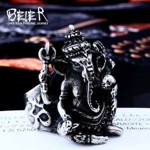 Beier new store 316L Stainless Steel ring Men Thailand Buddha elephant Thai Pikanet GANESHA GANESH men jewelry LLBR8-105R(China)