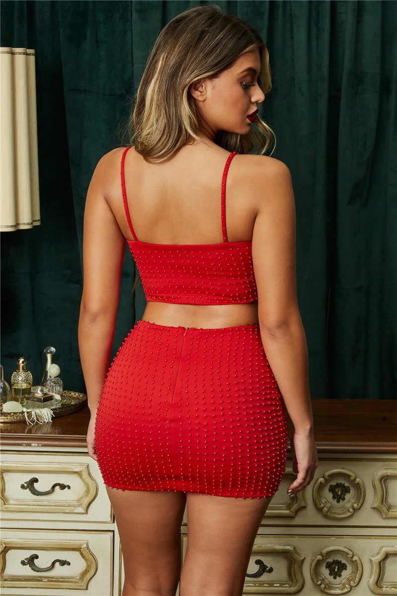Nattemaid Sexy Bead Tweedelige Set Backless Top En Mini Rok Zomer Vrouwen Set Mouwloze Backless 2 Delige Set Vrouwen outfit 2019
