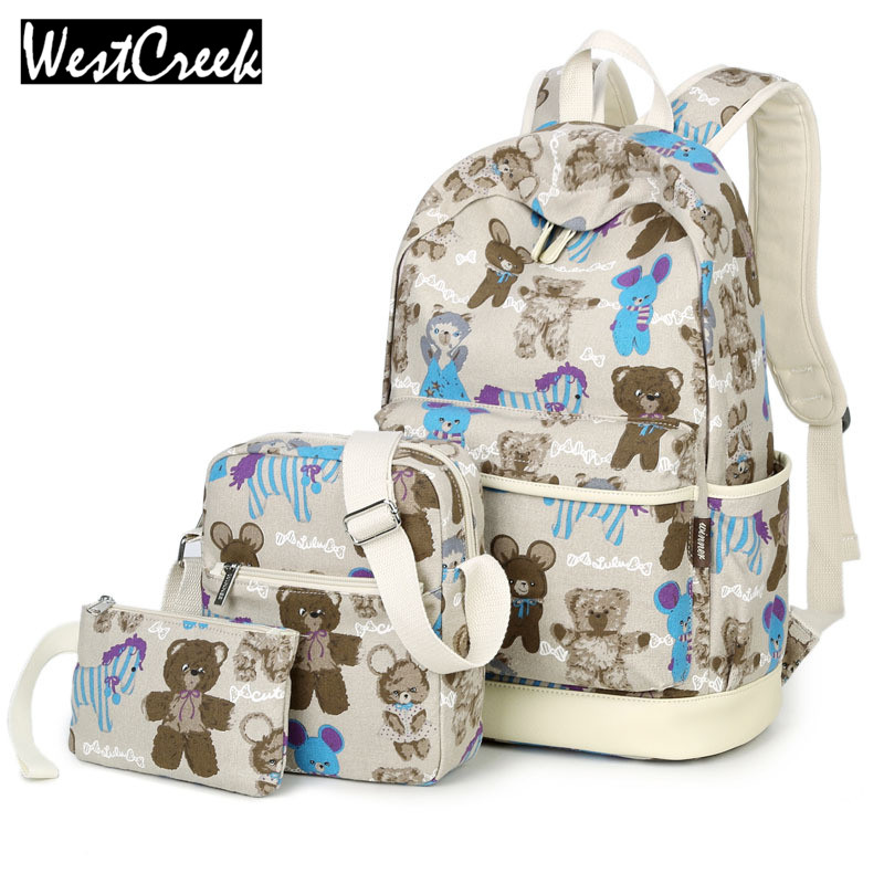 ФОТО Set Bag Women Bear Printing Canvas Backpack School Bags for Teenage Girls Bookbags Composite Mochila by 3 Pieces