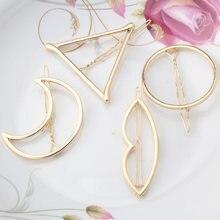 Women Girls Fashion Hairpins Hollow Circle Lip Moon Triangle Hair Clip  Barrette Wedding Party Hair Accessories Tiara Gold Plated afda94b1f970