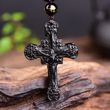 New Natural Obsidian Stone Carved Cross Jesus Christ Pendant Women Men's Amulet Lucky Jades Jewelry Pendants With Beads Necklace(China)